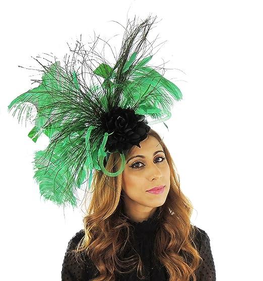 Hats By Cressida Vandhoo Black   Jade Green Ostrich Feather Ladies Wedding 0dc32ba40ad