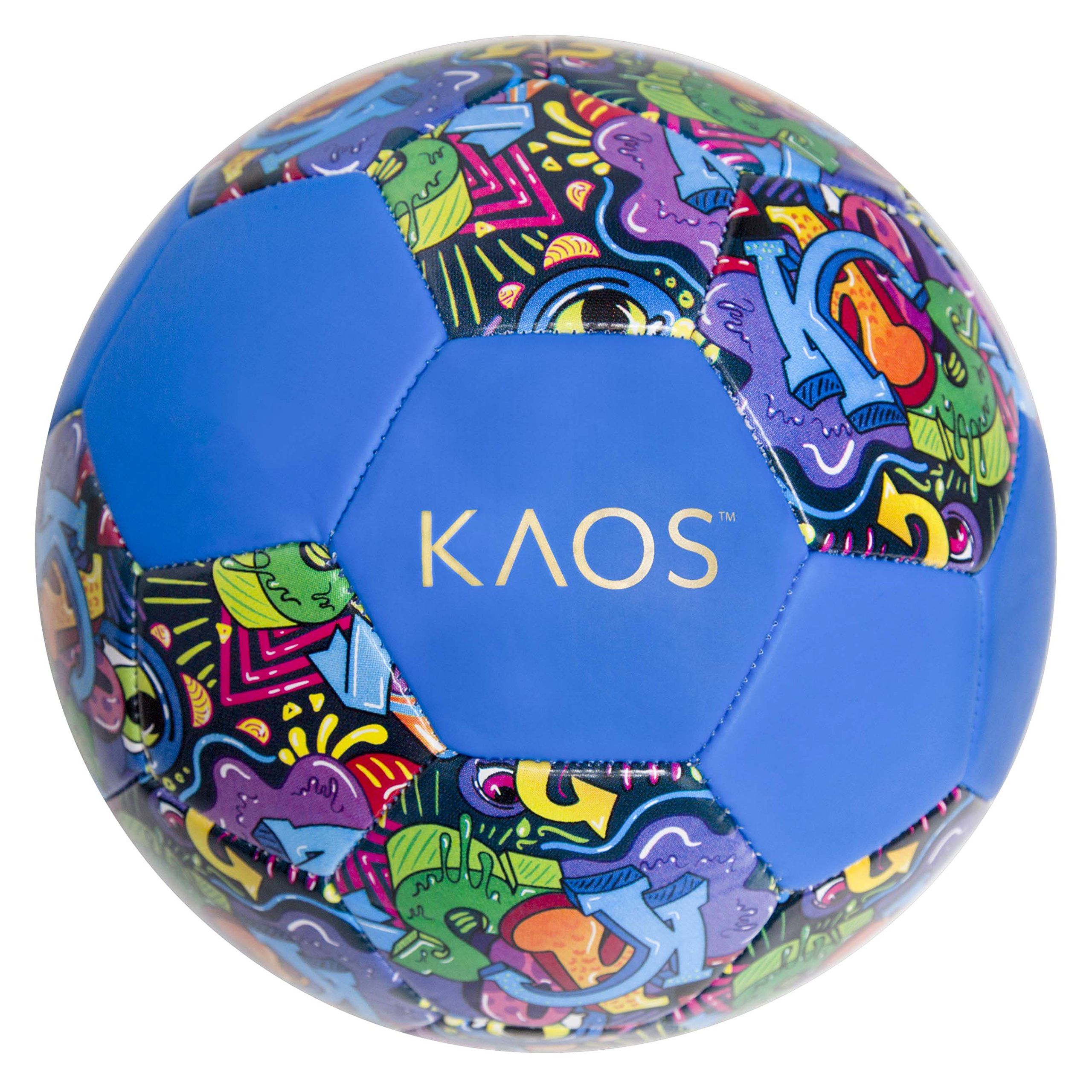 KAOS Color Bomb, Training and Recreation Soccer Ball, Blue w Multi Colored Graphics, Size 5 by KAOS Soccer