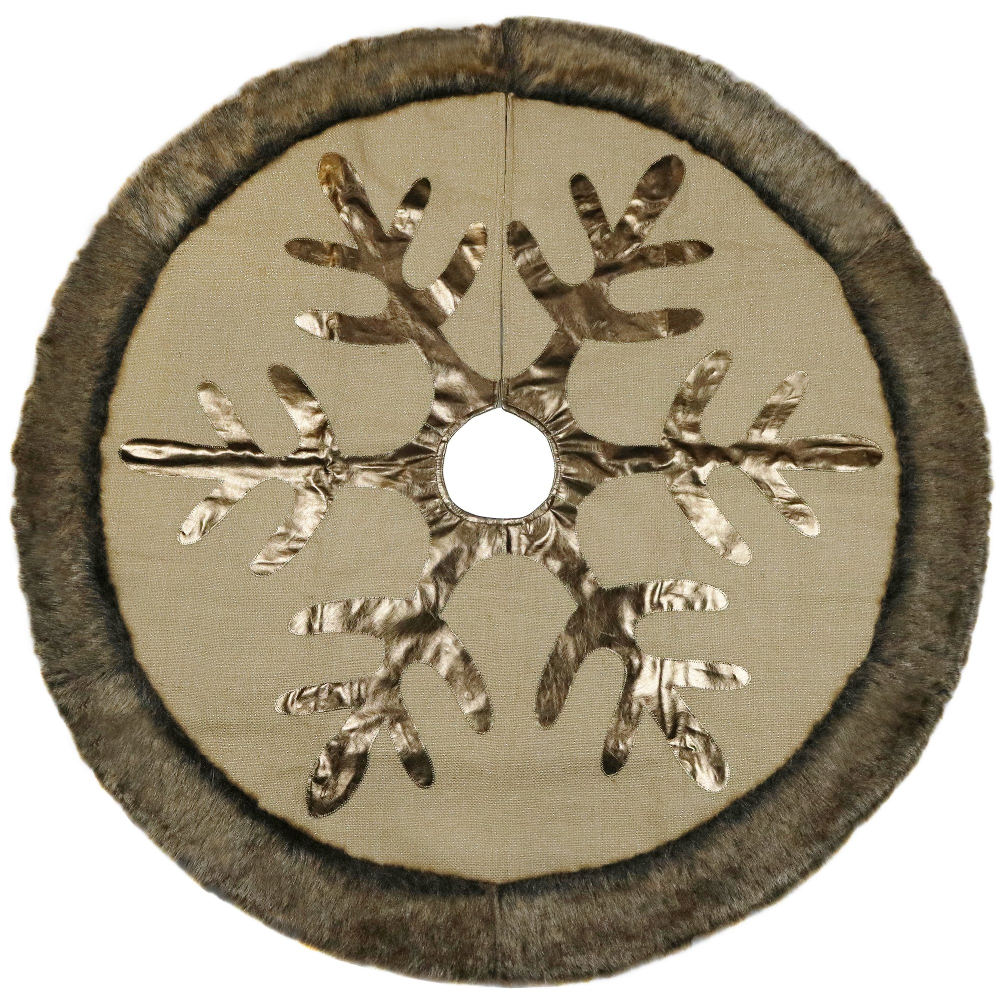 V&M VALERY MADELYN Valery Madelyn 48'' Woodland Collection Burlap Christmas Tree Skirt with Faux Fur Trim Border,Themed with Christmas Ornament(Not Included)