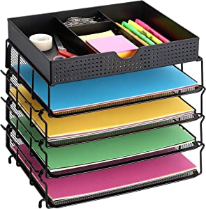 CAXXA 4 Trays Stackable Letter Tray, Desk File Organizer, Desktop Paper Tray Holder with Drawer, Black