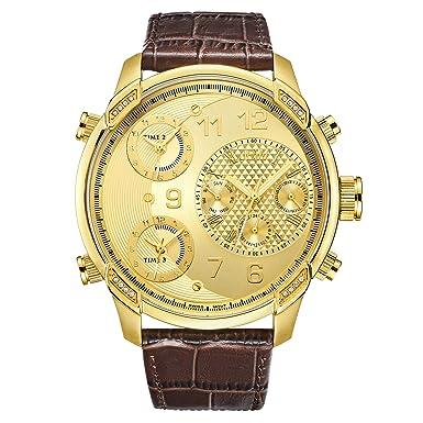 JBW Luxury Men s G4 0.16 ctw Diamond Wrist Watch with Leather Bracelet