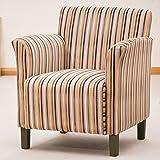 Sofa Collection Brand New Vivaldi Striped Fabric Tub Chair/Armchair Seating, Fabric, Brown, 75 x 74 x 85 cm
