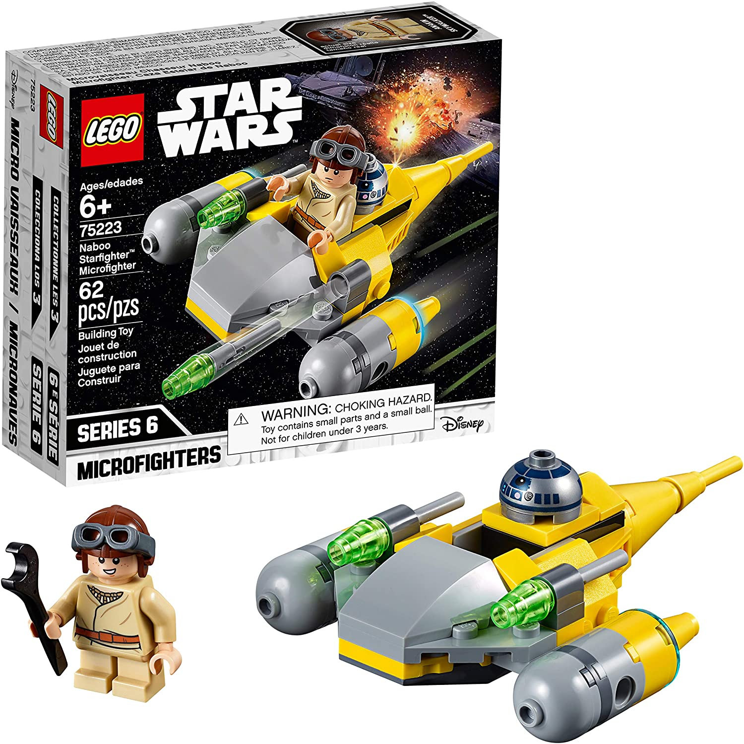 Amazon Com Lego Star Wars Naboo Starfighter Microfighter 75223 Building Kit 62 Pieces Toys Games