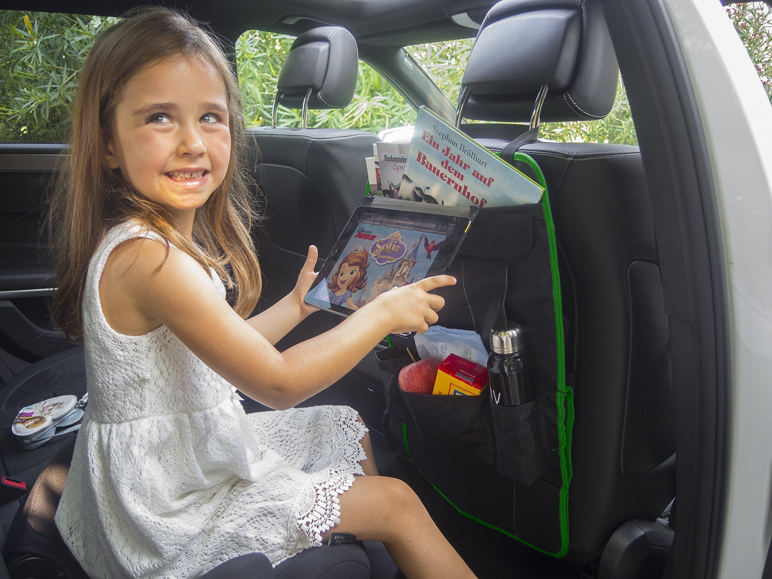 Protector asiento coche | organizador multi-bolsillos | MYCARCADDY TO GO | kick mat para ninos | evita arañazos y daños en el respaldo del asiento | con bolsillo para I-PAD tablet | NEGRO/VERDE