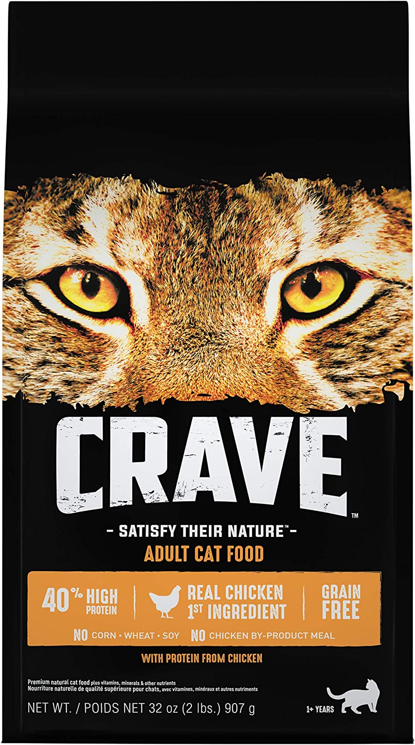 CRAVE Grain Free Adult High Protein Natural Dry Cat Food with Protein from Chicken, 2 lb. Bag