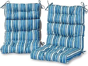 Greendale Home Fashions AZ6809S2-SAPPHIRE Steel Blue Stripe Outdoor High Back Chair Cushion (Set of 2)