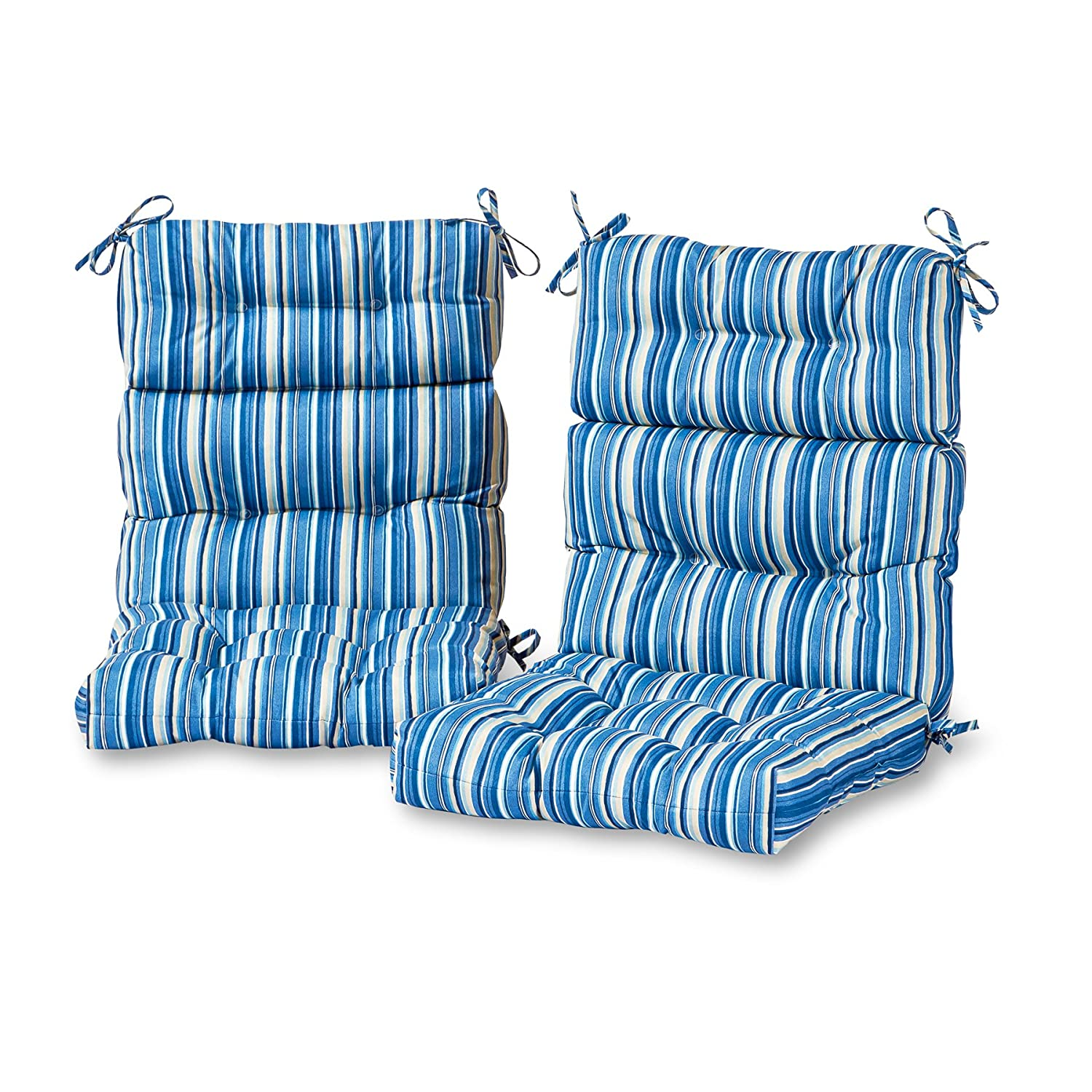 Greendale Home Fashions Outdoor High Back Chair Cushion in Coastal Stripe set of 2 , Sapphire