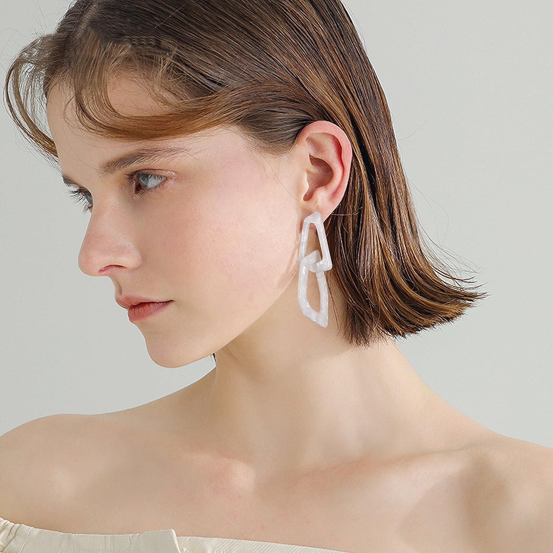 Womens Resin Hoop Earrings for Women Interlocking Hoop Acrylic Earrings Layered Dangle Drop Earrings