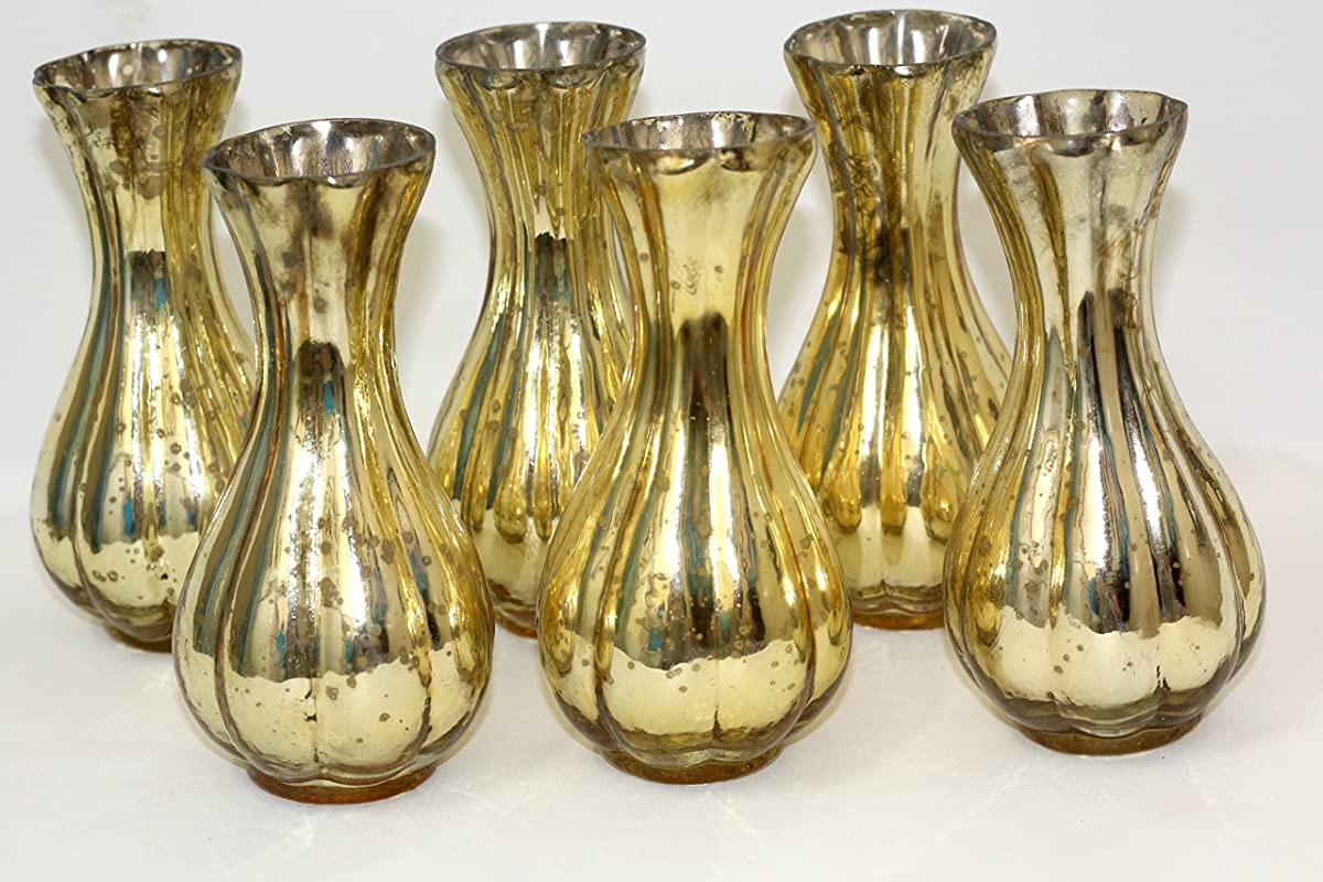 antique gold bud vase. set of 6