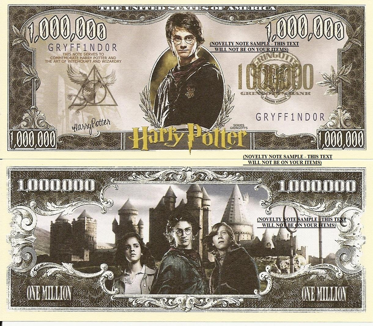 Novelty Dollar Harry Potter Wizard Million Dollar Bills x 2 New