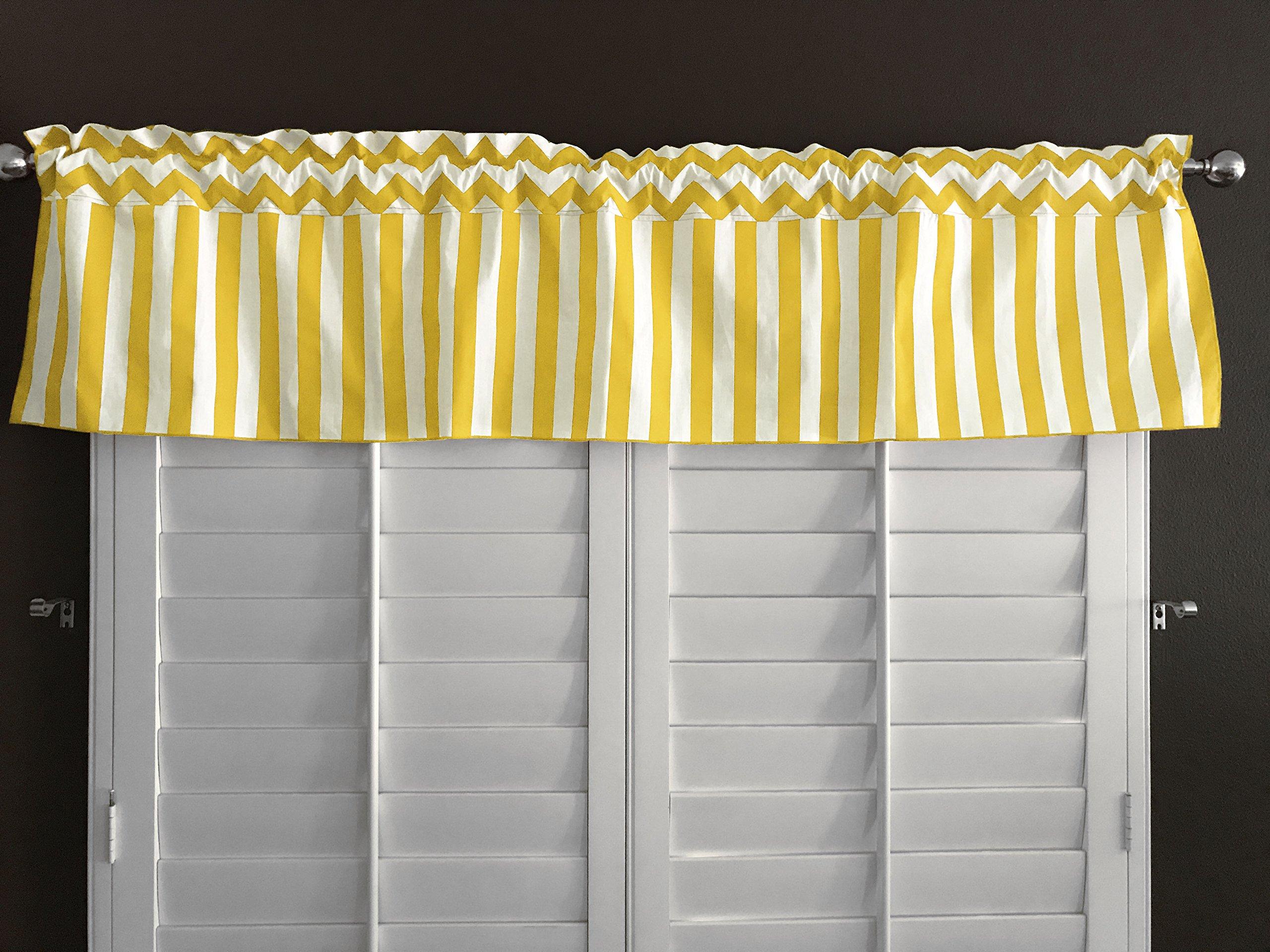 Zen Creative Designs Yellow Chevron Rain Cotton Stripes Window Valance 58 Inch Wide (28'' Tall) by Zen Creative Designs