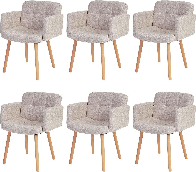 Mendler 6 x Chaise de séjour Orlando II, Style rétro ~ Tissu