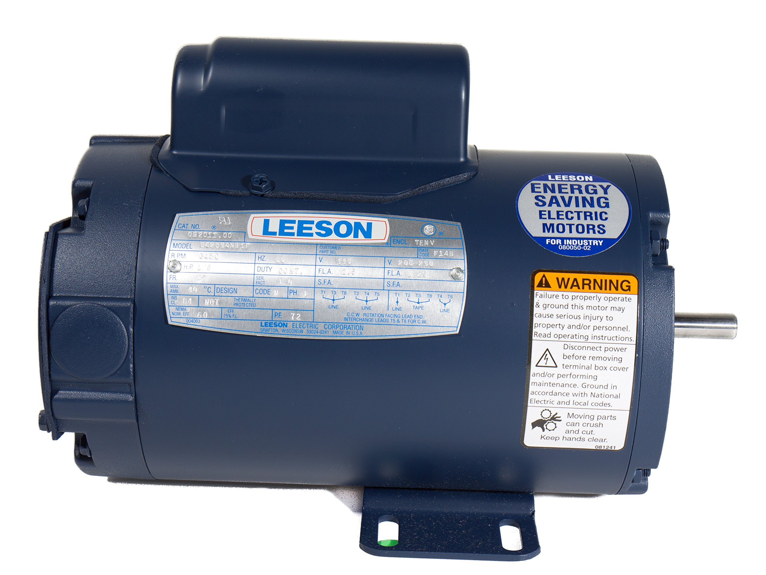 Leeson 132044.00 General Purpose ODP Motor, 1 Phase, 184T Frame, Rigid Mounting, 7.5HP, 3600 RPM, 208-230V Voltage, 60Hz Fequency