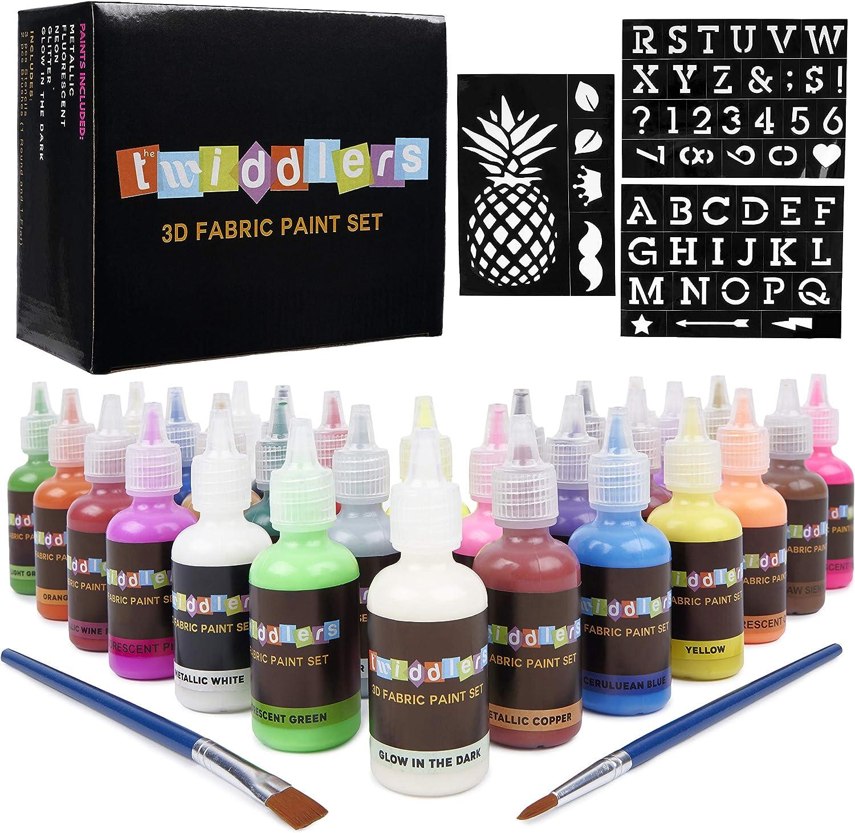 30 Pinturas para Tela - 30 Colores brillantes diferentes - Incluye neón, fluorescente, Brillo en la oscuridad y más - Ideal para textiles, telas, ...