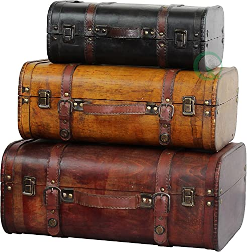 Vintiquewise TM 3-Colored Vintage Style Luggage Suitcase Trunk, Set of 3