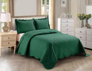 Home Collection 3pc King/Cal King Over Size Elegant Embossed Bedspread Set Light Weight Solid Hunter Green New