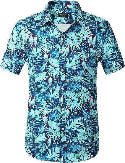 Leisurely Pace Men's Hawaiian Shirt Short Sleeve Beach Aloha Party Shirt