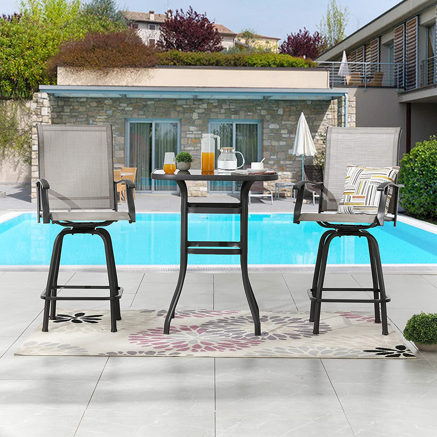 LOKATSE HOME Bar Height Bistro Patio Table Set 3 Piece High Top with Swivel Chair Outdoor Furniture Suitable for Yard Backyard and Garden Grey, Tesling, 3 Pcs