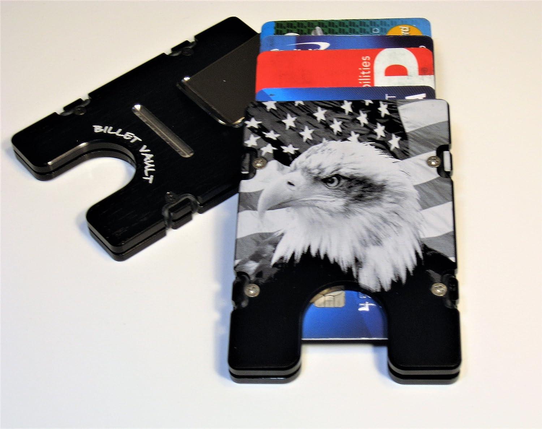American Flag Black Billet Aluminum Wallet//Credit card Holder RFID protection
