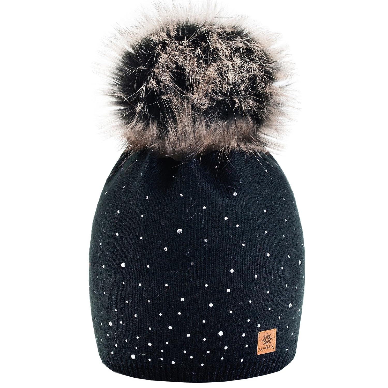 Winter Cappello Cristallo Più Grande Pelliccia Pom Pom invernale di lana Berretto Delle Signore Dell...
