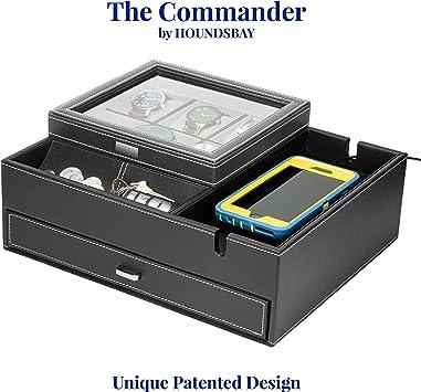 HOUNDSBAY Amiral Commode Valet Box Bo/îte /à Bijoux pour Hommes avec Grande Station de Recharge pour Smartphone Marron Fonc/é