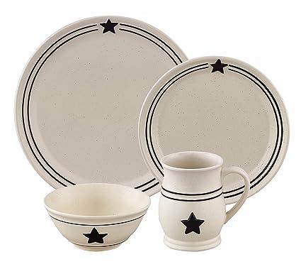 Farmhouse black and cream country star dinnerware stoneware 16 piece set