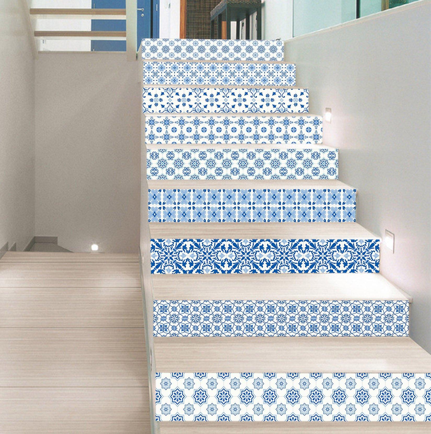 3D Clear Blue Pattern 7843 Stair Risers Decoration Photo Mural Vinyl Decal Wallpaper Murals Wallpaper Mural US Lemon (15x H:18cm x W:94cm (7''x37'')) by AJ WALLPAPER (Image #2)