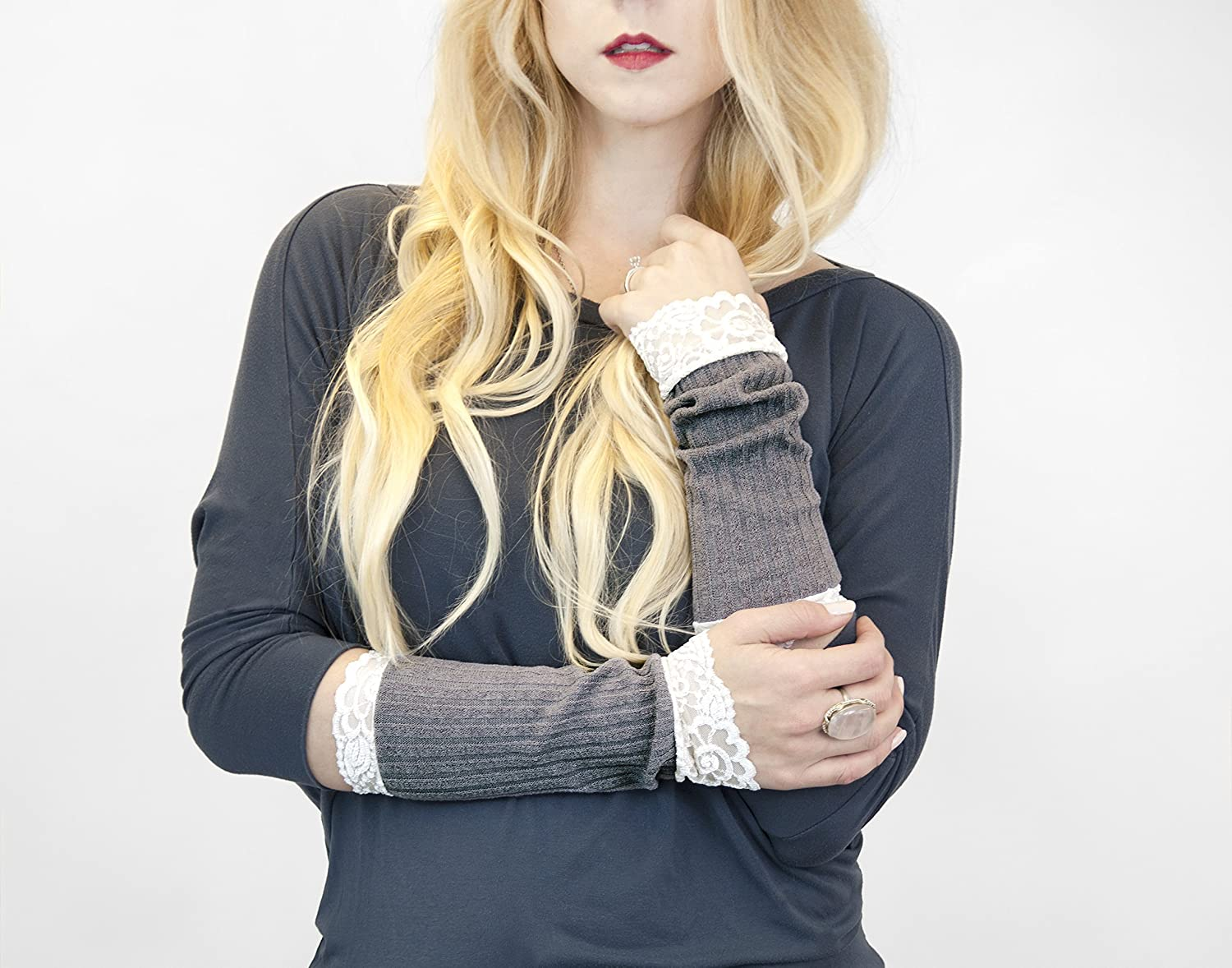 Long Lace Ribbed Knit Arm Warmers (Soft Grey)