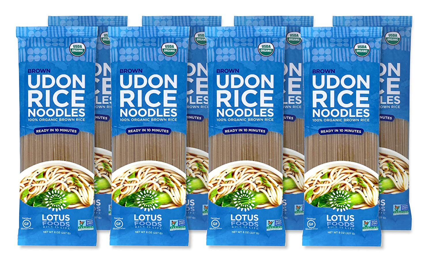 Lotus Foods Organic Brown Udon Rice Noodles, Rice, 8 Count