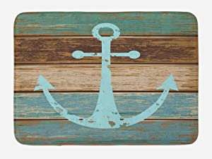 Ambesonne Anchor Bath Mat, Timeworn Marine Symbol on Weathered Wooden Planks Rustic Nautical Theme, Plush Bathroom Decor Mat with Non Slip Backing, 29.5 W X 17.5 L Inches, Pale Blue Brown Teal