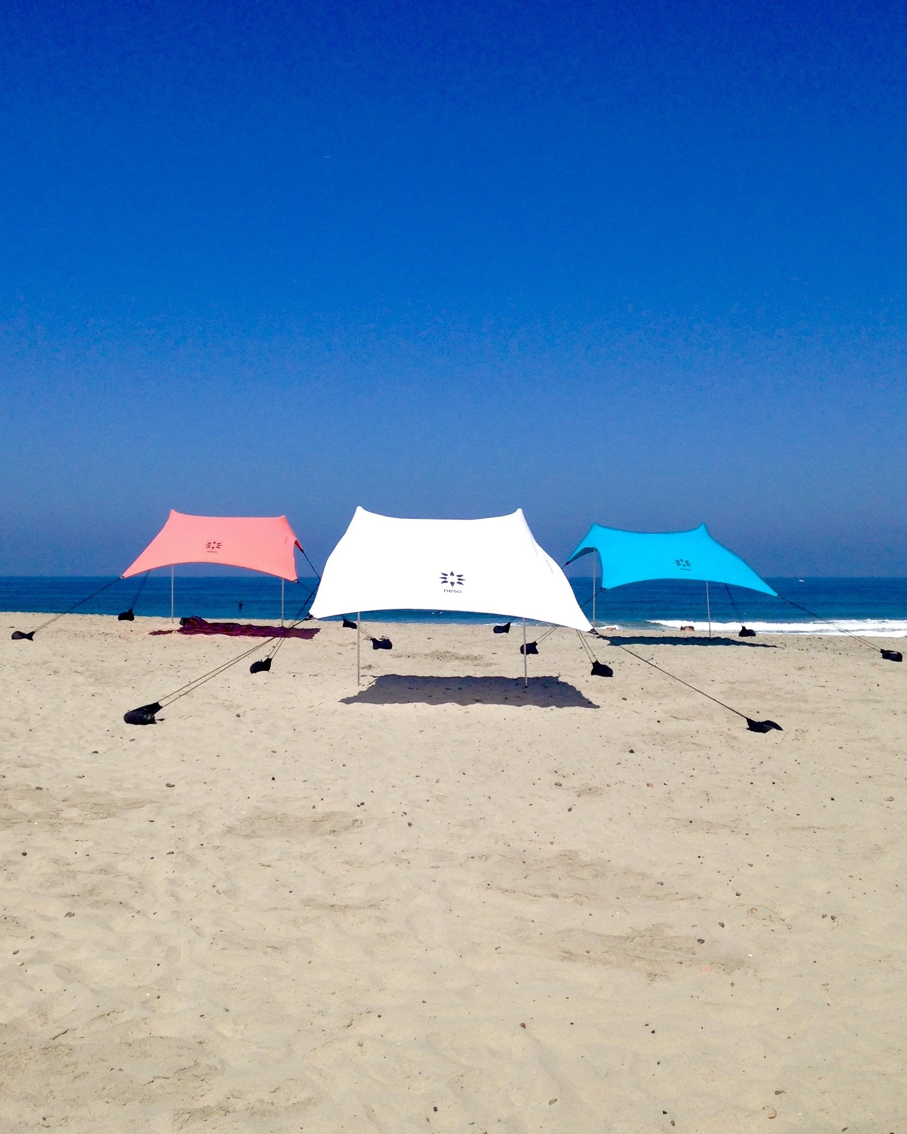 Neso Tents Beach Tent with Sand Anchor, Portable Canopy Sun Shelter, 7 x 7ft - Patented Reinforced Corners - Coral by Neso