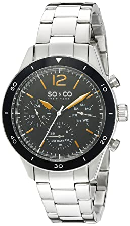 SO&CO New York Mens 5032.1 Yacht Timer Quartz Multifunction Stainless Steel Link Bracelet Watch