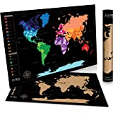 """Global Zoom Scratch-Off World Map with US States-Track Travel Routes, Iconic Landmarks and World Wonders -Thick, Laminated Large Poster for Wall (24""""x36"""") - Includes Scratch Tool and Cleaning Cloth"""