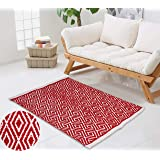 Reversible Indoor Area Rug/Mat, Machine Washable, Handmade from Cotton, Unique for Bedroom, Living Room, Kitchen, Nursery and
