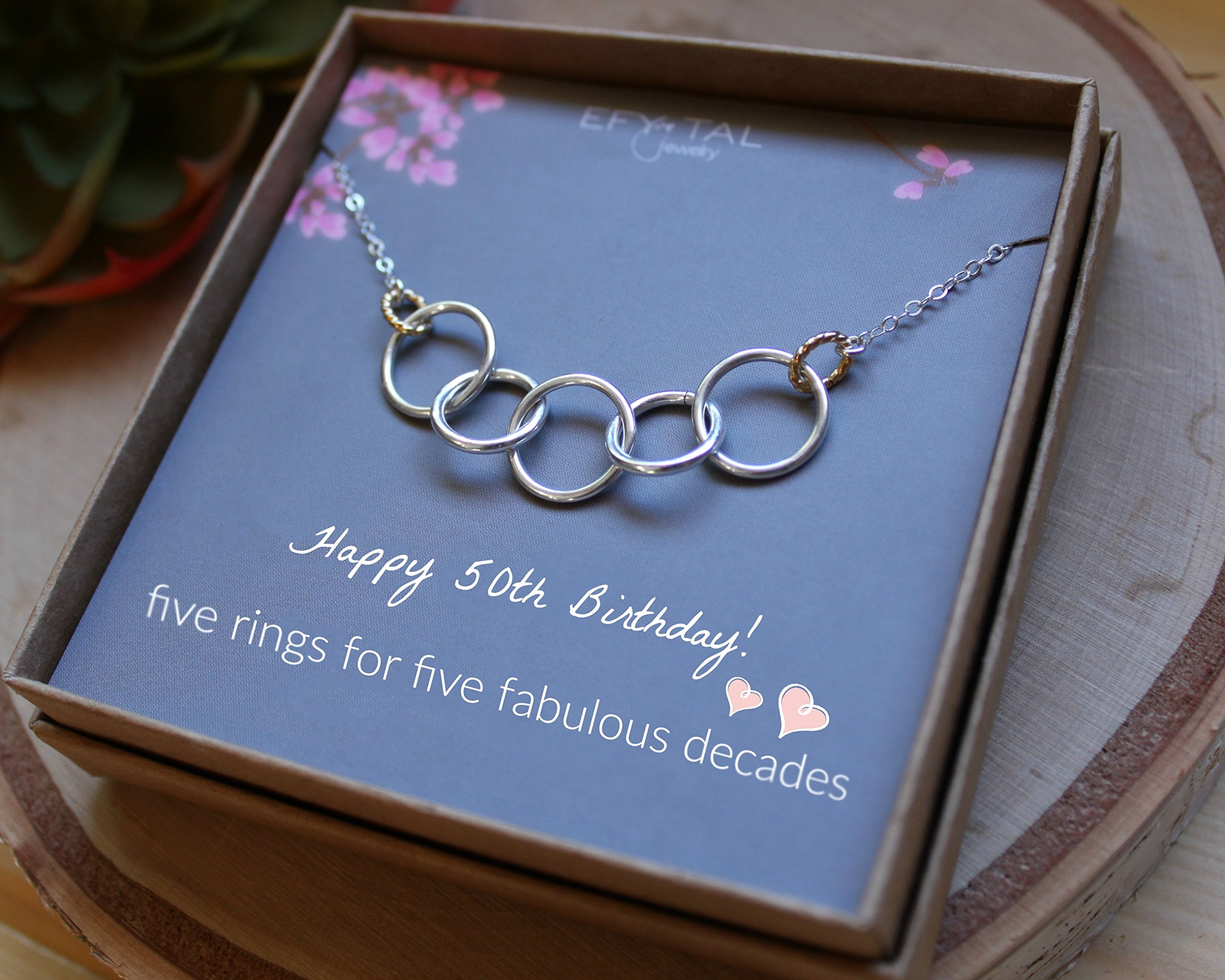 Efy Tal Jewelry Happy 50th Birthday Gifts for Women Necklace, Sterling Silver 5 Rings Five Decades Necklaces Gift Ideas by Efy Tal Jewelry (Image #4)