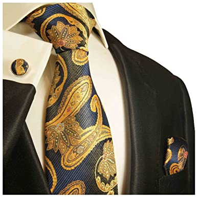 1145f8da7 Navy Blue and Gold Paisley Silk Necktie Set by Paul Malone at Amazon ...