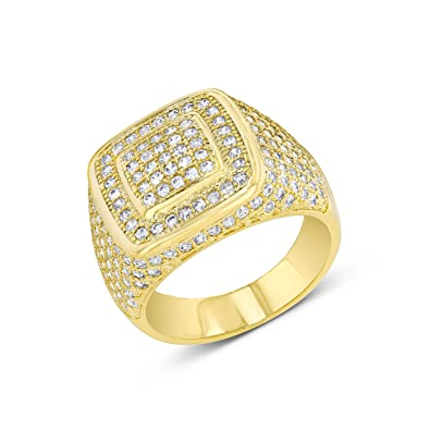 Zilver 14k Gold Cluster Cz Iced Out Pinky Ring For Men Hip Hop