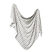 Large Premium Knit Baby Swaddle Receiving Blanket Midtown  by Copper Pearl
