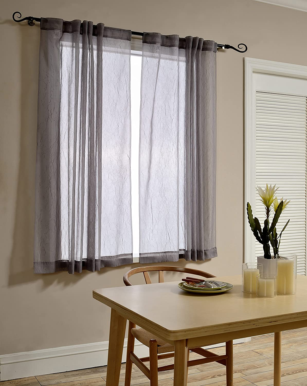 Mysky Home Back Tab and Rod Pocket Window Crushed Voile Sheer Curtains for Office Room, Grey
