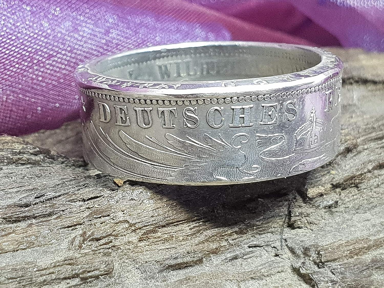 verschiedene Gr/össen Coinring-M/ünzring Silber Coinring 3 Mark Preussen Unikat Handgeschmiedet M/ünzring Silber 3 Mark Preussen