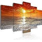 Bilder 200x100 cm - XXL Format - Fertig Aufgespannt – TOP - Vlies Leinwand - 5 Teilig - Wand Bild - Kunstdruck - Wandbild - See Natur Meer Strand 051401 - 200x100 cm - B&D XXLmurando
