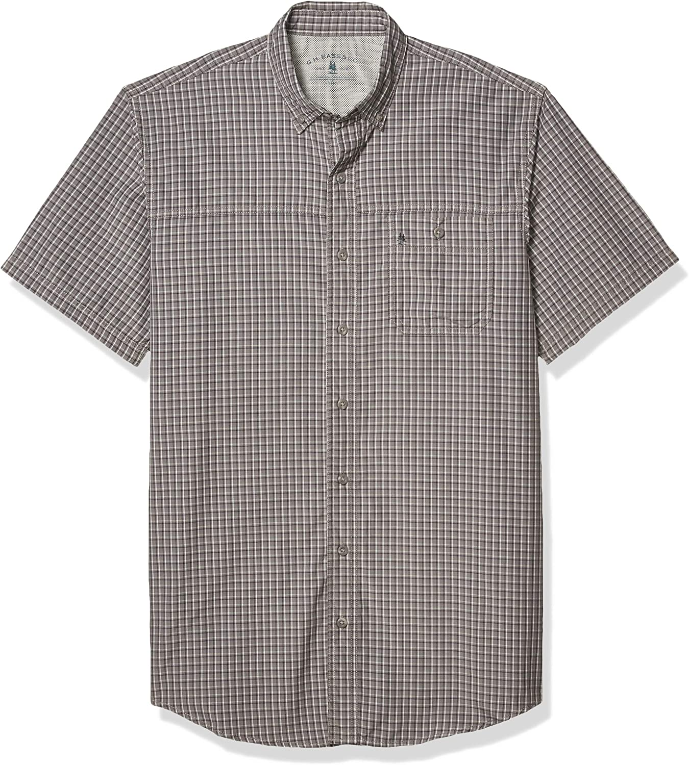 G.H. Bass & Co. Men's Big and Tall Explorer Short Sleeve Fishing Shirt Plaid Button Pocket