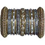 Indian Bridal Collection! Panache' Grey Bangles Set in Gold Tone By BangleEmporium X-Small Size 2.4