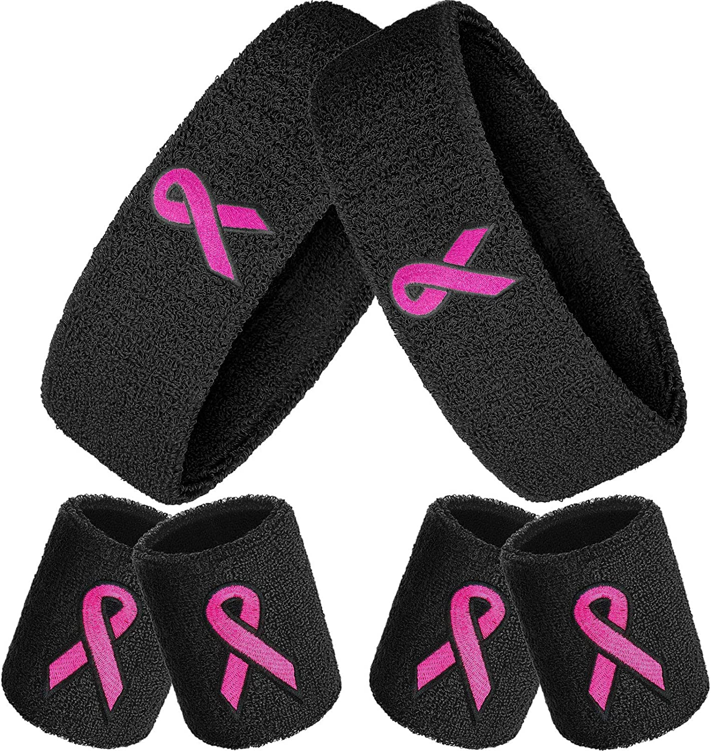 WILLBOND 6 Pieces Breast Cancer Awareness Wristbands Pink Ribbon Sweatbands Sports Wrist Sweatbands for Football Basketball Running Athletic