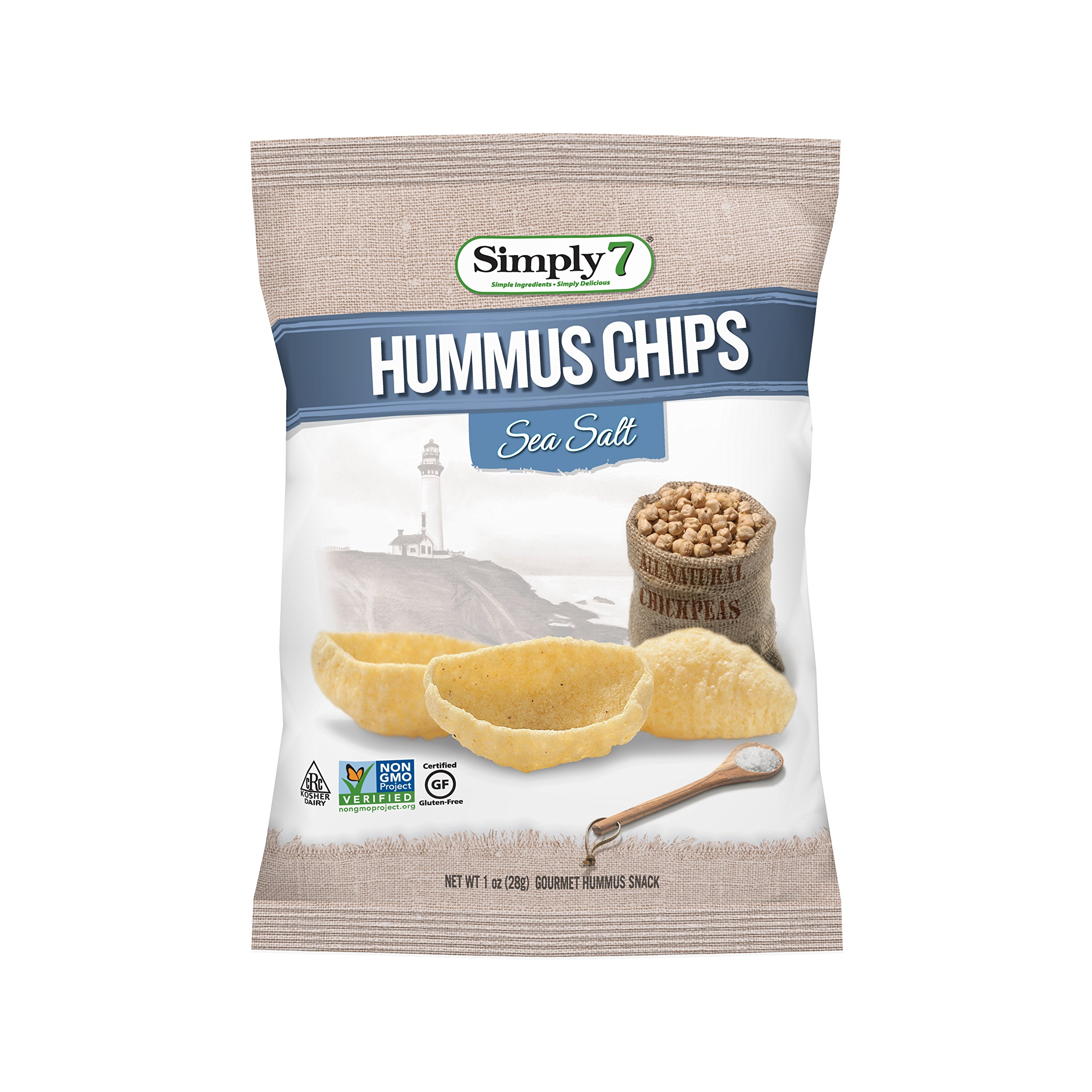 Simply7 Gluten Free Chickpea Hummus Chips, Sea Salt, 1 Ounce (Pack of 24)