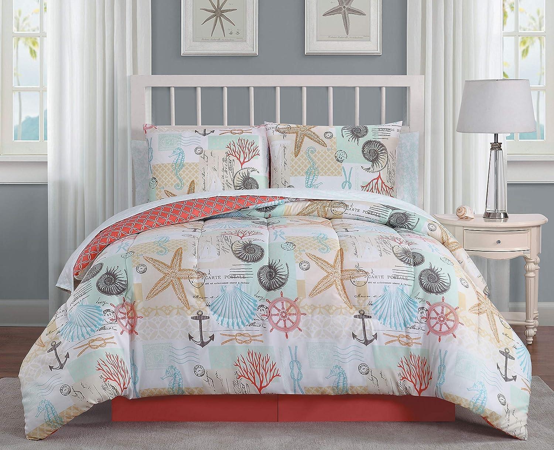 Heritage Bay Belize 6pc Reversible Coastal Comforter with Sheet Bedding Set, Twin, Coral