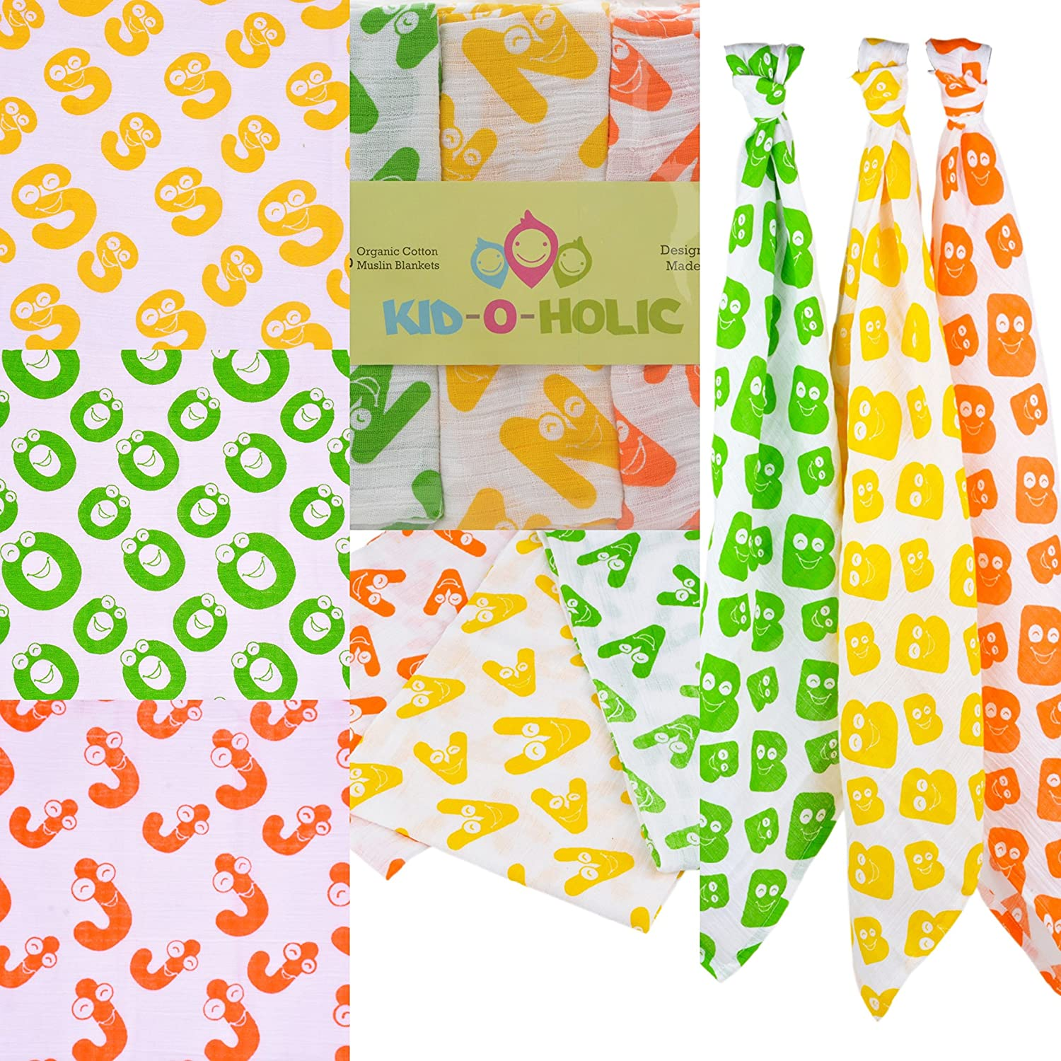Swaddle Blanket Wraps in Smily Alphabets of Your Choice with Different Colour Letter E, 100/% Orgnaic Cotton Muslin Squares Random Colour,1 Personalised Organic Baby Muslins Unisex Unboxed