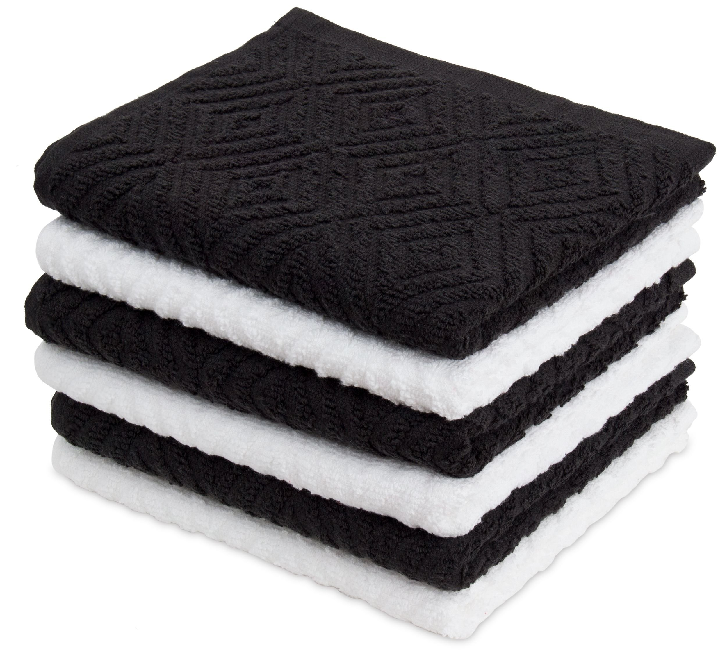 HomeCrate Diamond Super Absorbent 16'' x 26'' Kitchen Towels Dish Cloth, 100% Terry Cotton, Set of 6, Black & White