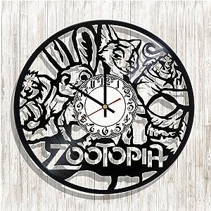 BaklajanStudio XXL Design Wall Clock Zootopia Made from Real Vinyl Record, Zootopia Decal, Zootopia Poster, Best Gift for Zootopia Fans, Design Art Wall Decor