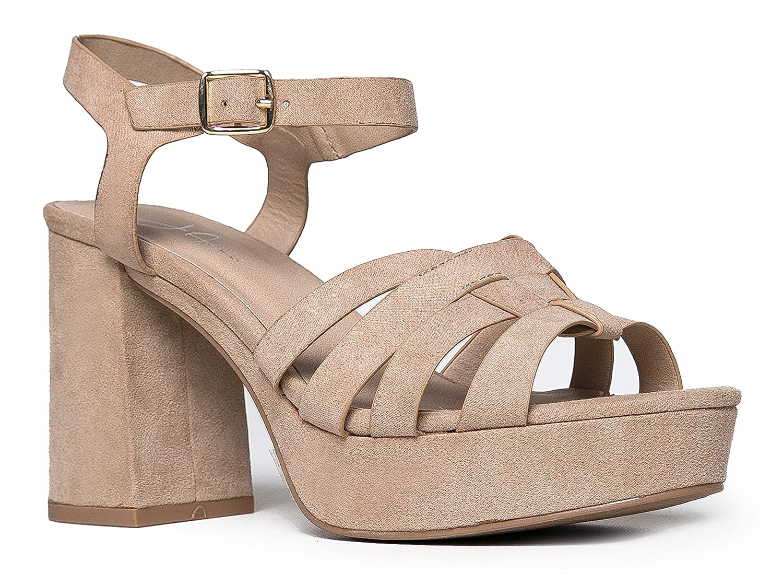 f8ac9ad0a63 J. Adams Womens Platform Ankle Strap Low Heel - Chunky Open Toe Shoe Casual  Basic Block Sandal - Taffy  Amazon.co.uk  Shoes   Bags